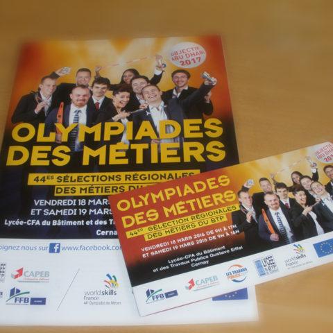 Plaquette et invitation pour les OLYMPIADES DES METIERS Fédération française du bâtiment dans le cadre de leur communication de recrutement