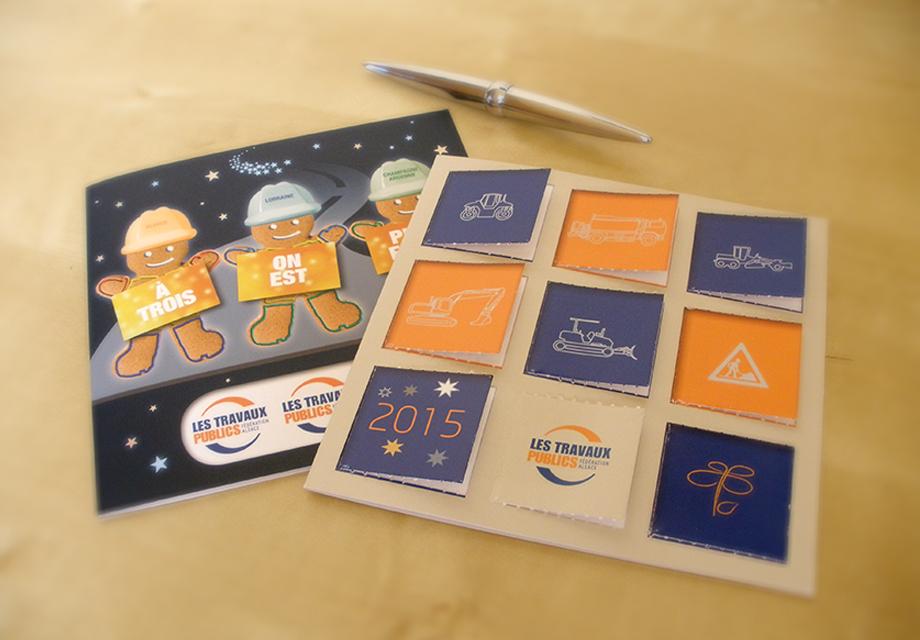 Cartes de voeux 2015 réalisées pour la Fédération Régionale des Travaux Publics Alsace pour leur communication corporate