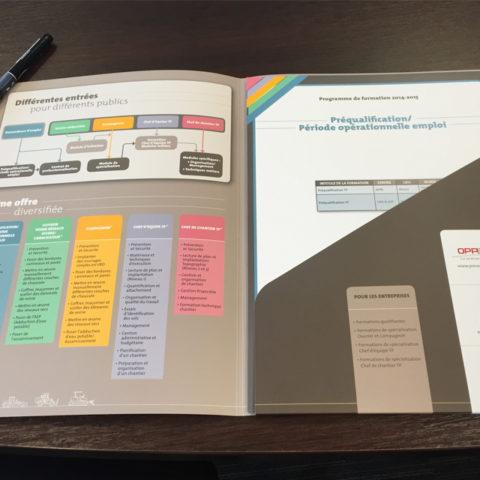 Plaquette Formation professionnelle réalisé pour la Fédération Régionale des Travaux Publics Alsace pour leur communication de recrutement