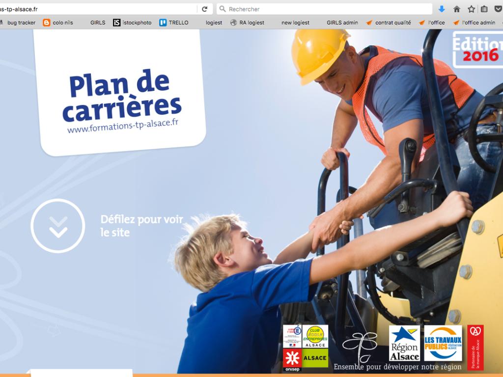 Page d'accueil du site internet Plan de Carrières réalisé pour la FRTP Alsace pour leur stratégie de communication digitale
