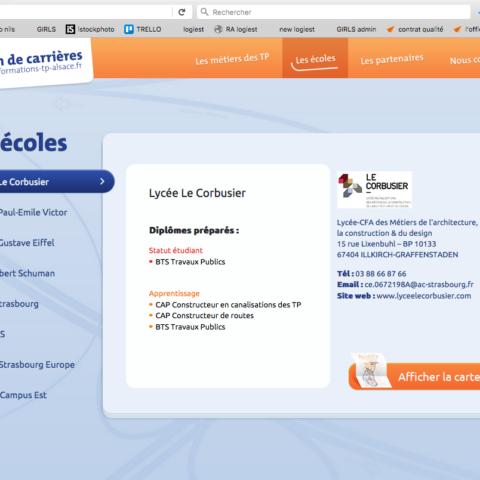 Exemple d'une page d'un site internet réalisé pour la FRTP Alsace pour leur stratégie de communication digitale