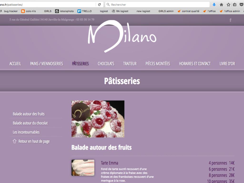 Site internet Milano page intérieure