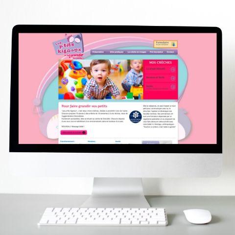 Mock-up de la page d'accueil du site Internet Les P'tits Kignoux