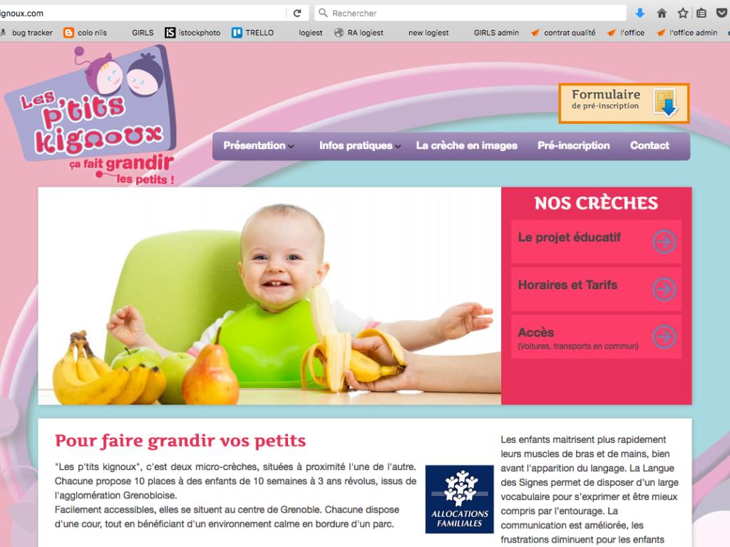 Page d'accueil du site internet Les P'tits Kignoux dans le cadre de leur stratégie de communication digitale