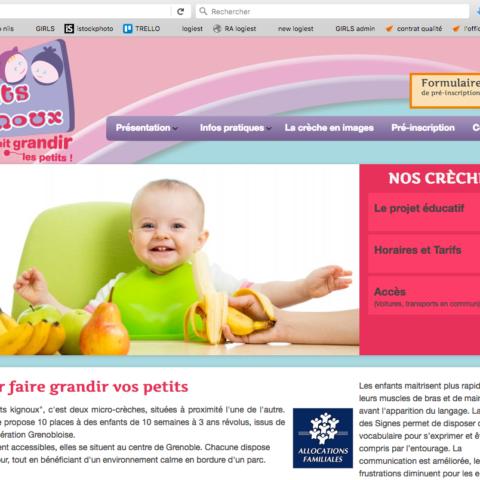 Site internet les P'tits Kignoux page accueil