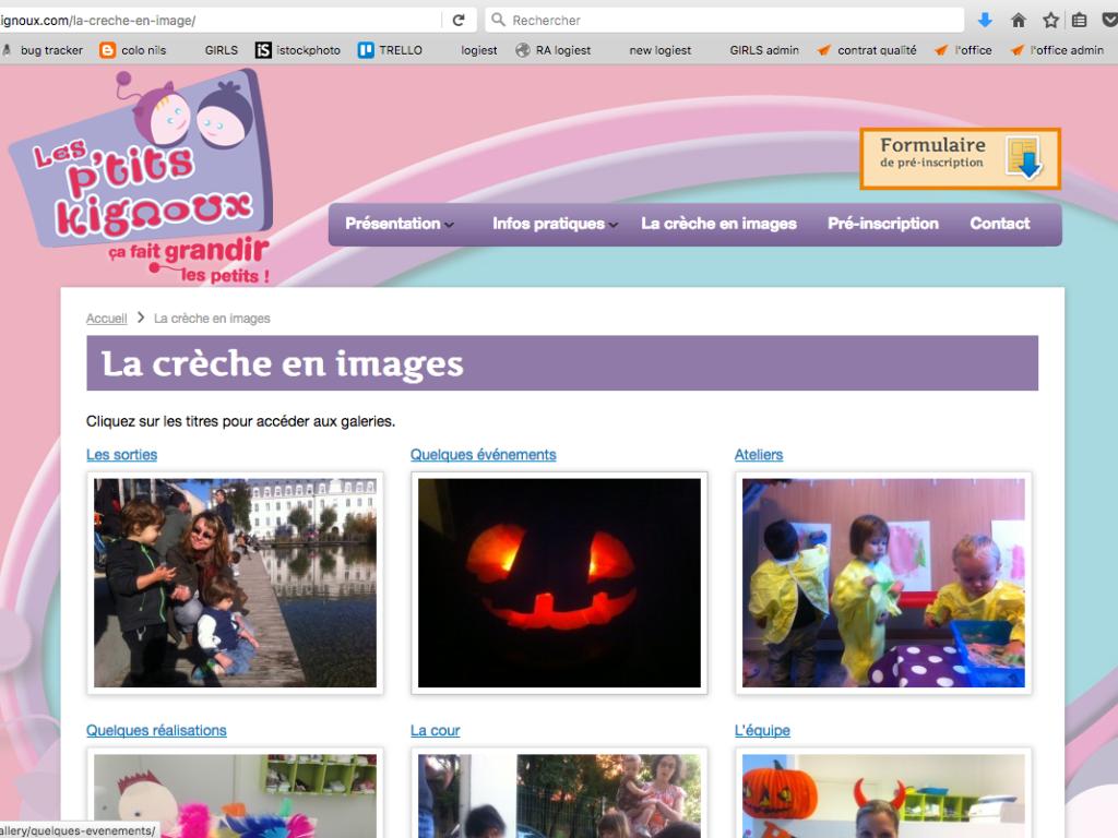 Page du site internet Les P'tits Kignoux dans le cadre de leur stratégie de communication digitale