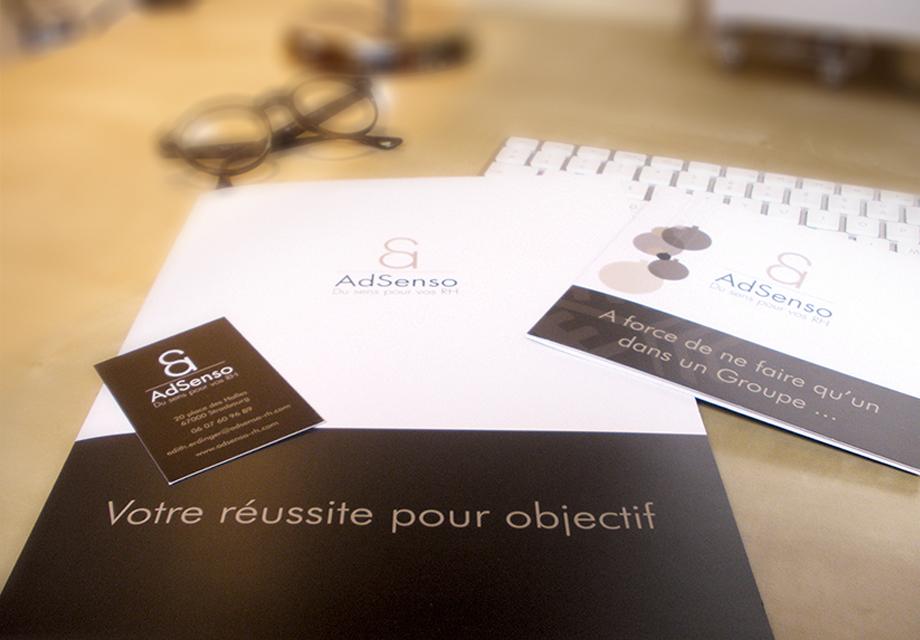 Plaquette corporate carte de visite carte de voeux AdSenso vue 2