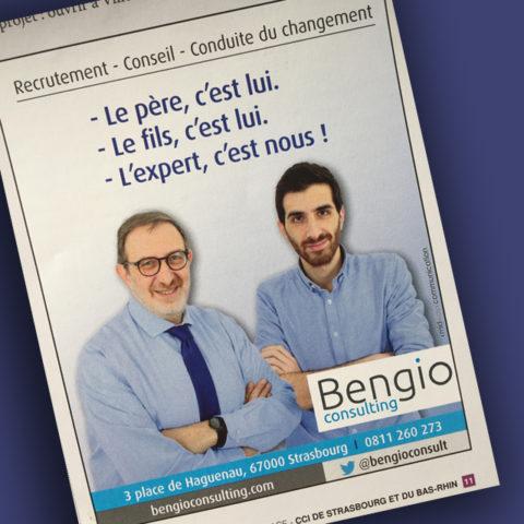 Encart de publicité publié dans un journal pour Bengio Consulting pour leur communication corporate