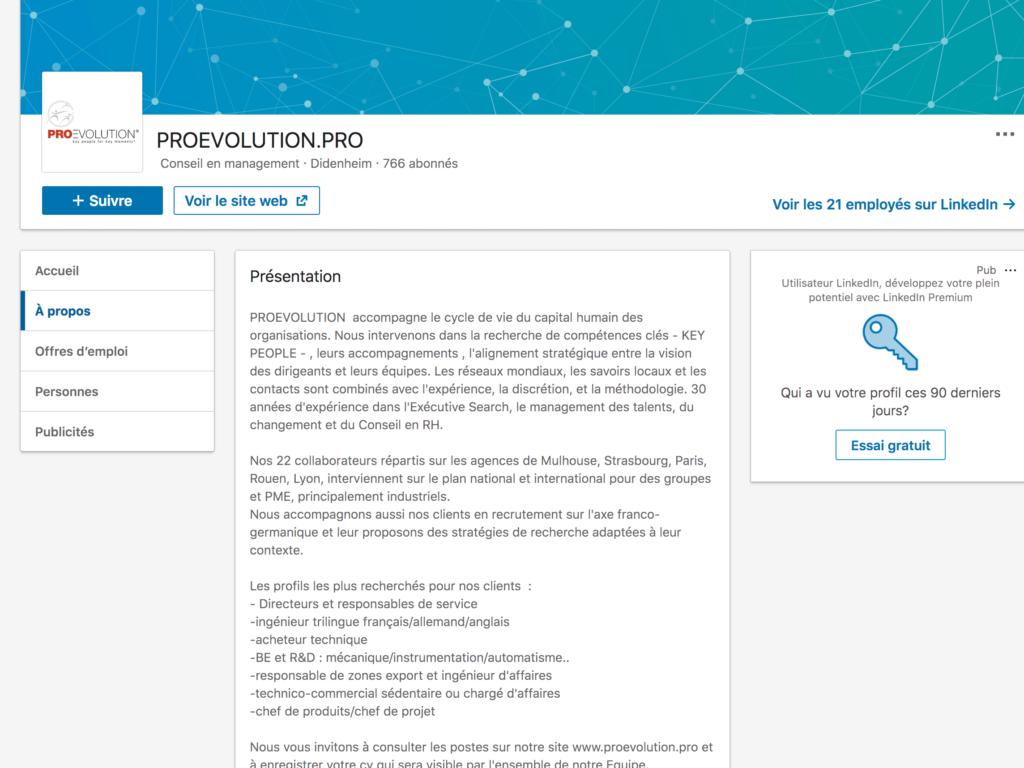 texte de présentation de ProEvolution sur leur page entreprise LinkedIn