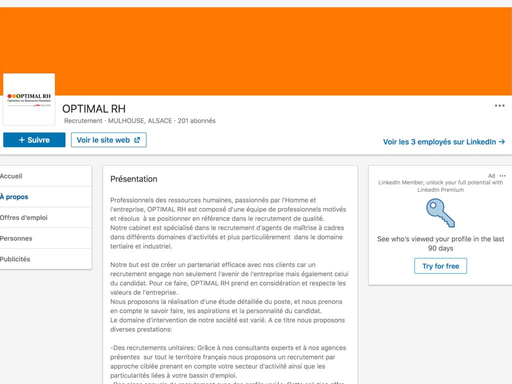 Page entreprise de Optimal RH sur LinkedIn