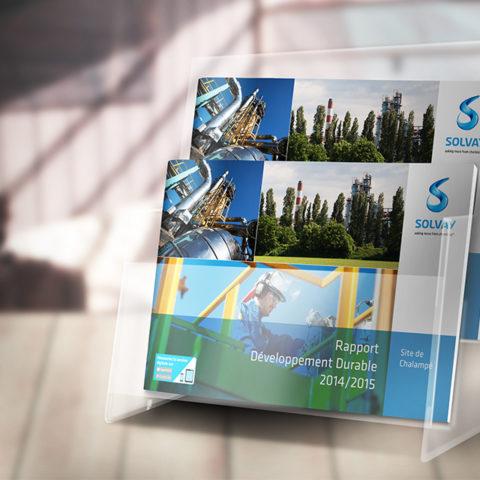 Couverture du rapport developpement durable réalisé pour Solvay