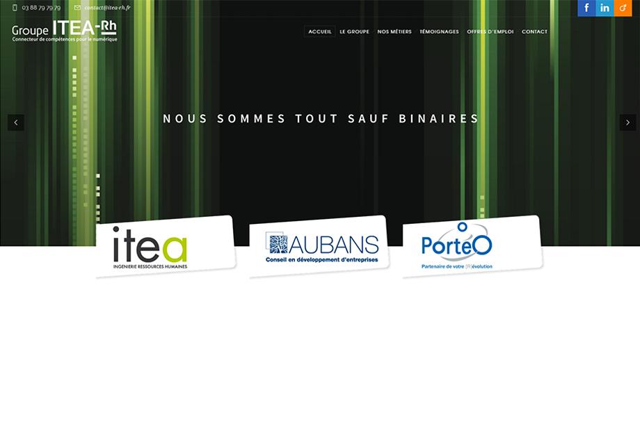 Page d'accueil du site internet Itea RH
