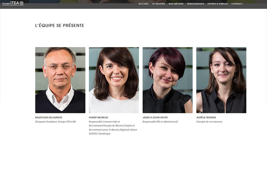 """Page """"équipe"""" du site internet d'Itea RH"""