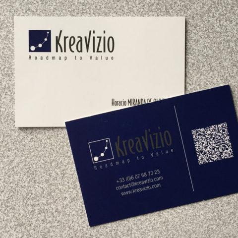 Cartes de visite réalisées pour KréaVizio pour leur communication corporate