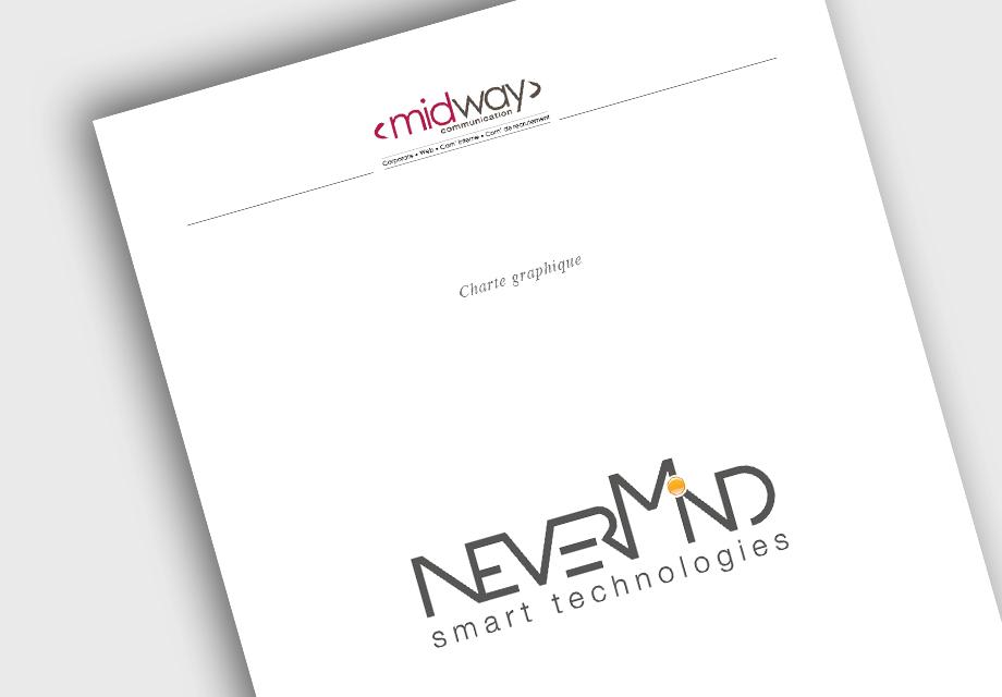 Charte graphique pour le nouveau logo de l'entreprise NeverMind