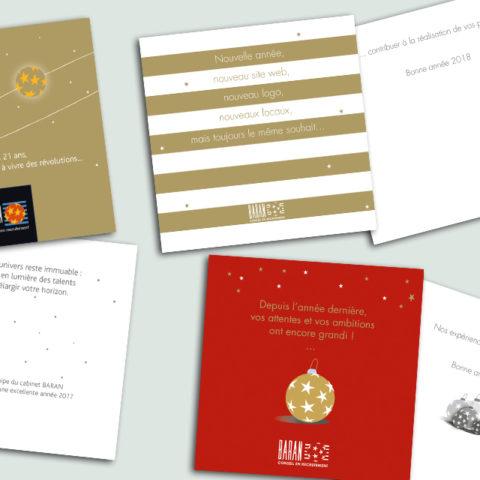 Cartes de voeux réalisées pour notre client Denis Baran Recrutement