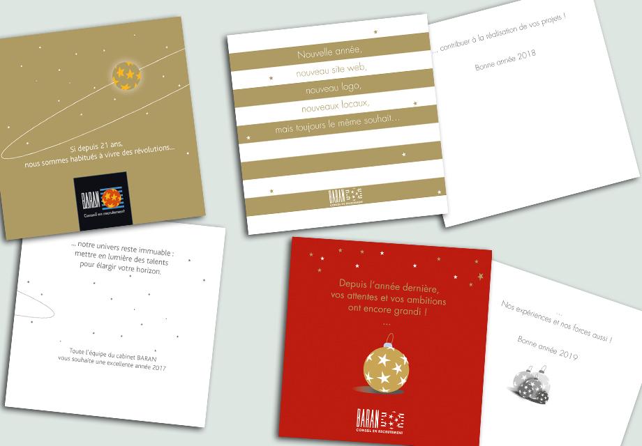 Mock-up des différentes cartes de voeux réalisées pour Denis Baran Recrutement