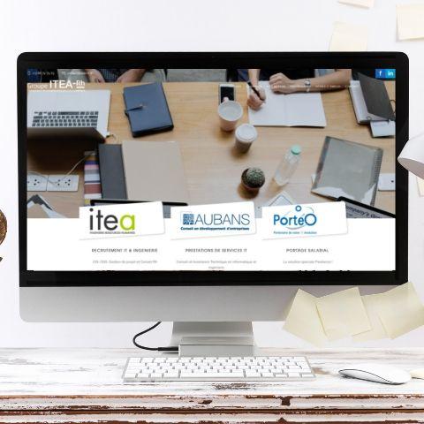 Mockup de la page d'accueil du Groupe Itea RH