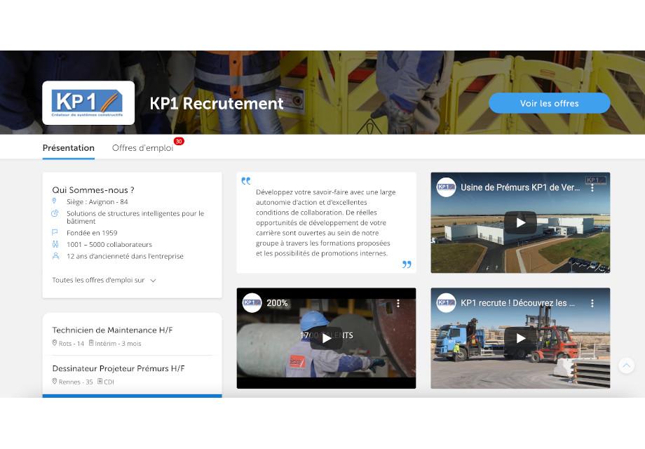 Page Entreprise sur Regionsjob KP1 pour leur Marque Employeur