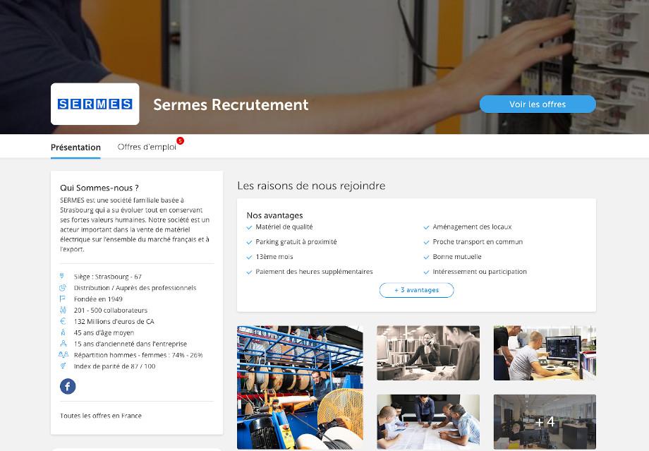 Page carrière Regionsjob pour Sermes et leur marque employeur