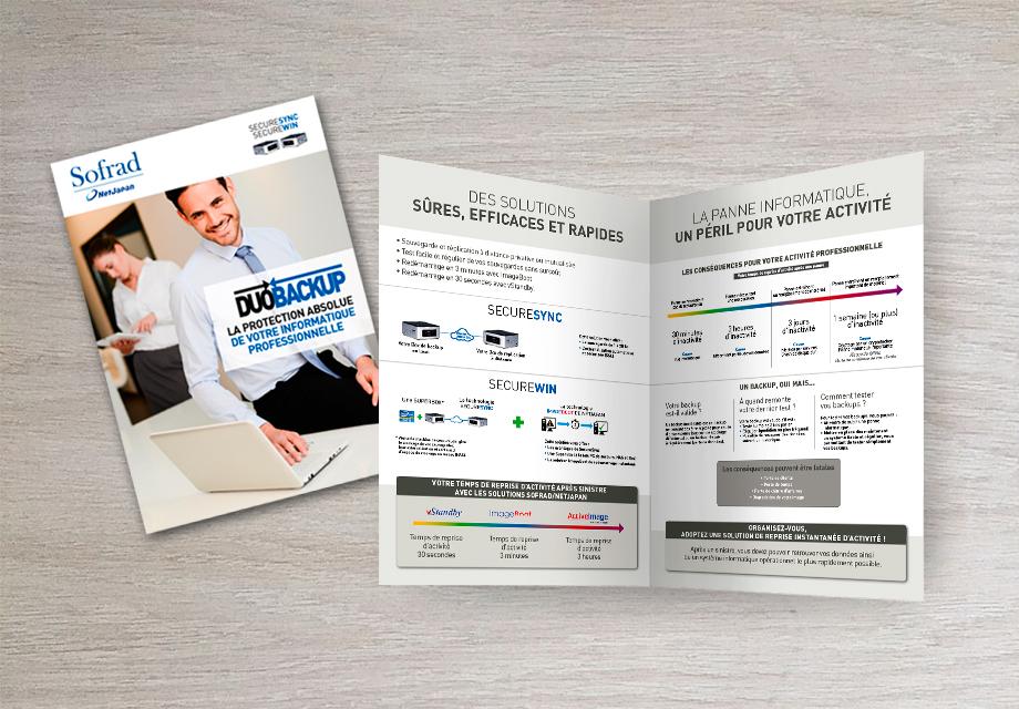 Découvrez la couverture et une page intérieure d'une plaquette pour notre client Sofrad
