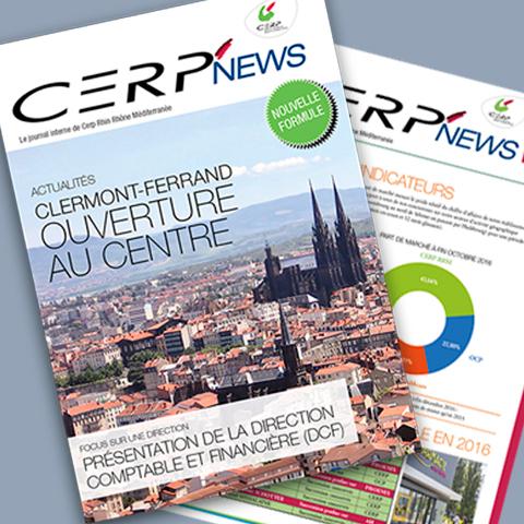 Couverture de journal Interne pour Cerp Rhin Rhône Méditerranée édition siège réalisé par Midway Communication