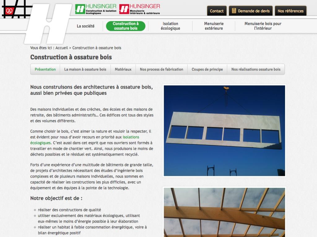 """Page """"construction à ossature bois"""" du site internet de l'entreprise Hunsinger"""