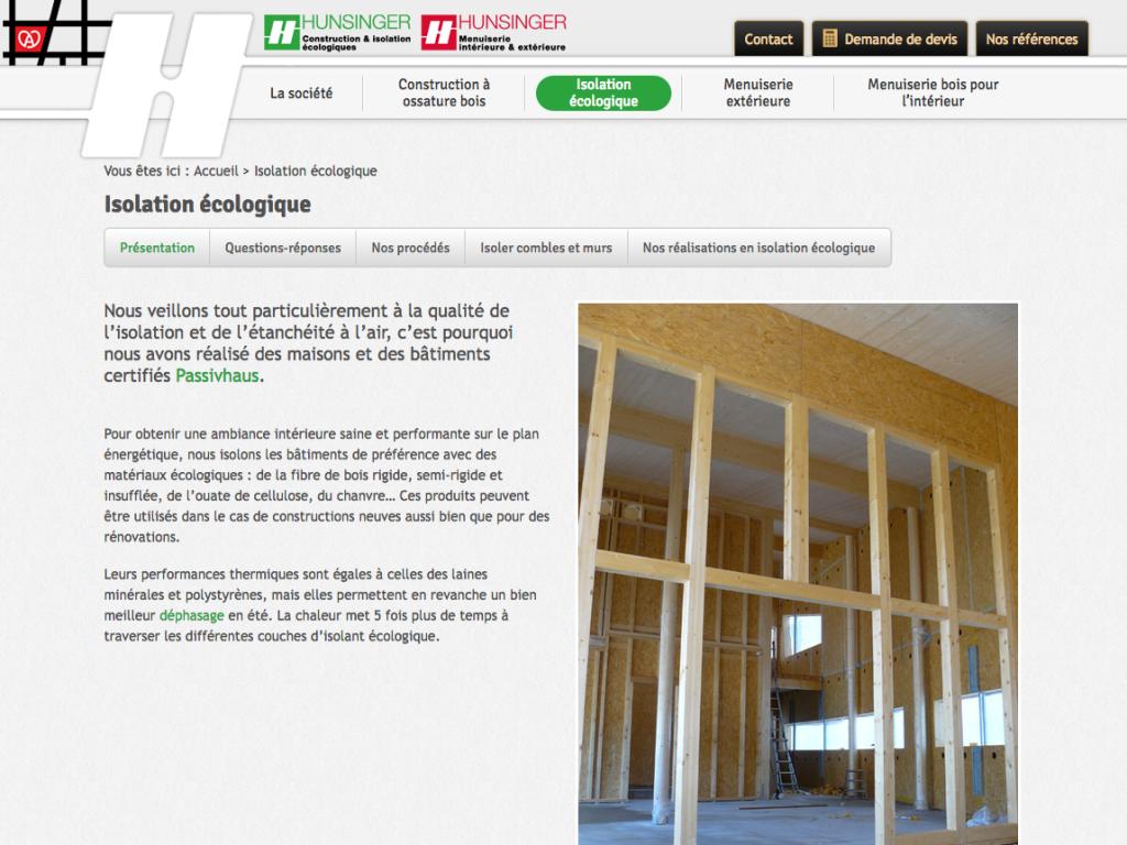 """Page """"isolation écologique"""" du site internet de l'entreprise Hunsinger"""