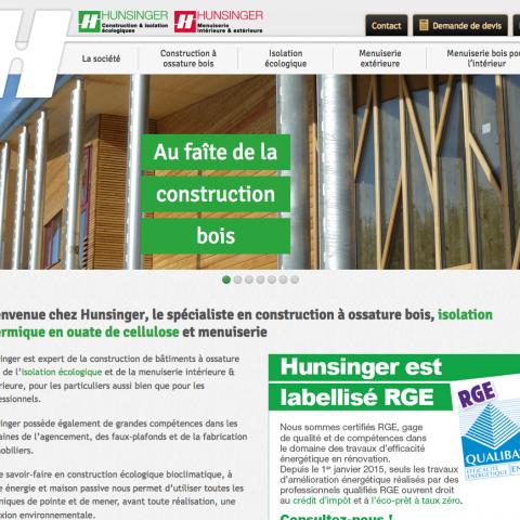 Page d'accueil du site internet de l'entreprise HUNSINGER