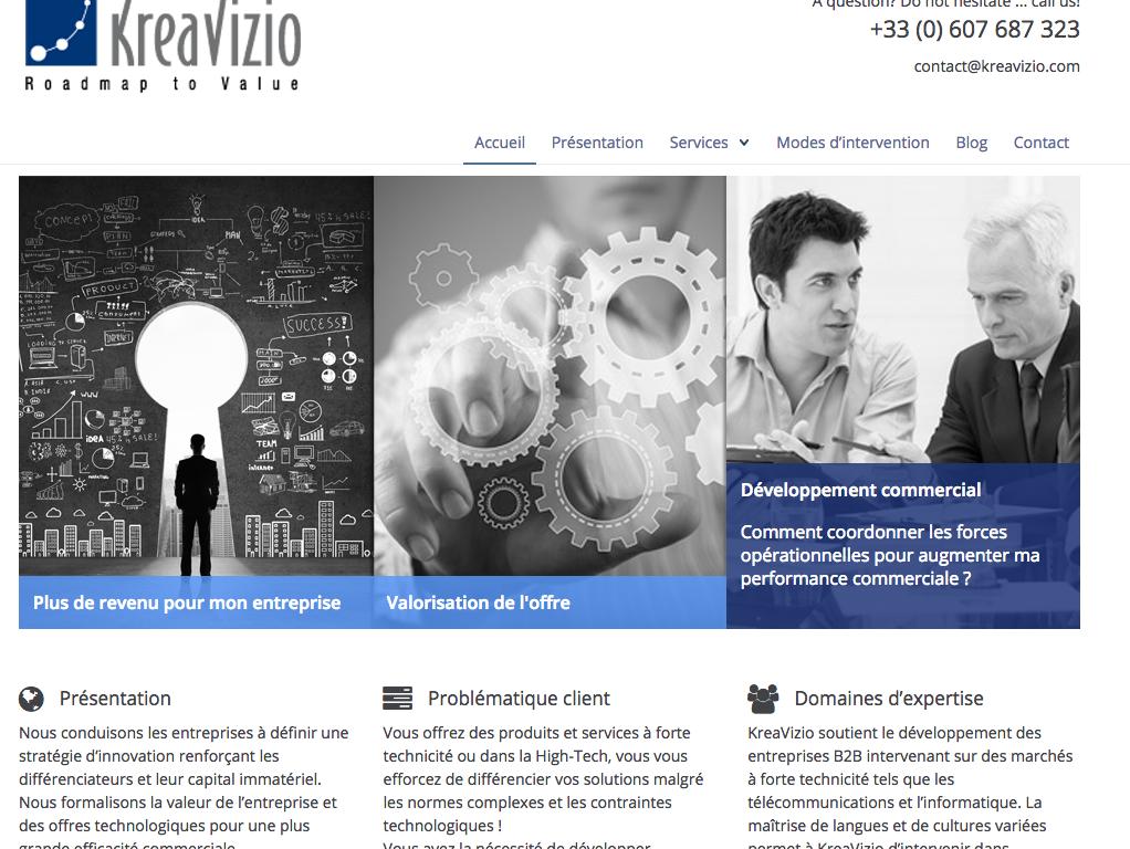 Page accueil du site internet KreaVizio