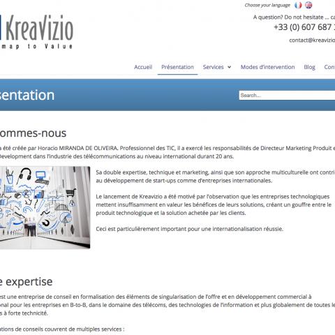 Page présentation du site internet KreaVizio réalisée par Midway Communication
