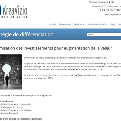 Page services du site internet KreaVizio