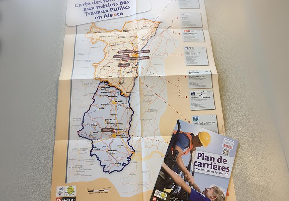 """Dépliant """"Plan de carrières"""" 2017 réalisé par Midway Communication pour la Fédération Régionale des Travaux Publics"""