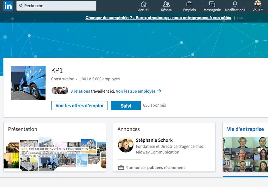 Page Entreprise sur le réseau social LinkedIn pour l'entreprise KP1