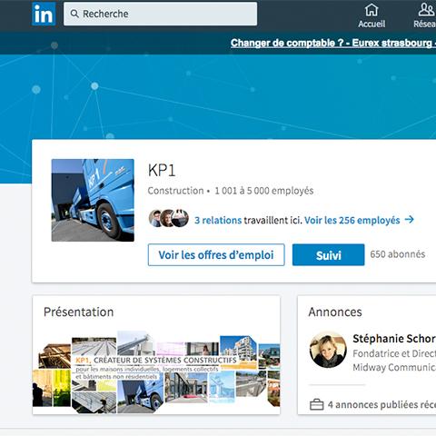 Reseaux sociaux Linked In page vie d'entreprise KP1 vue 2