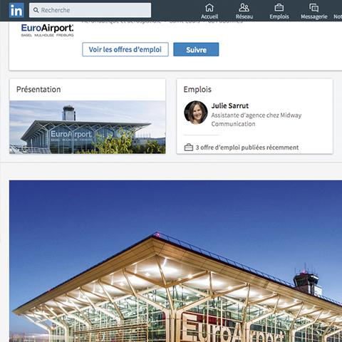 Capture d'écran de la page Entreprise EuroAirport sur le réseaux social LinkedIn