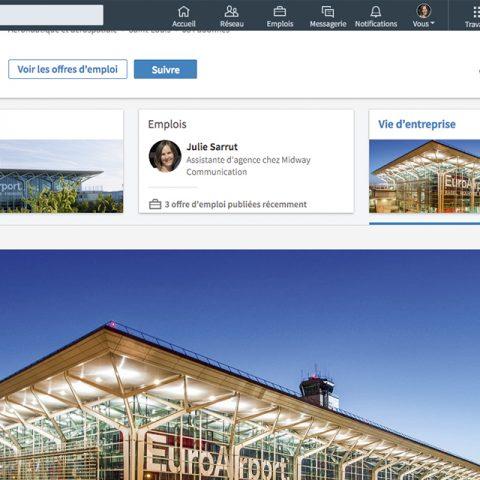 Réseaux sociaux LinkedIn page vie d'entreprise Euroairport vue 1