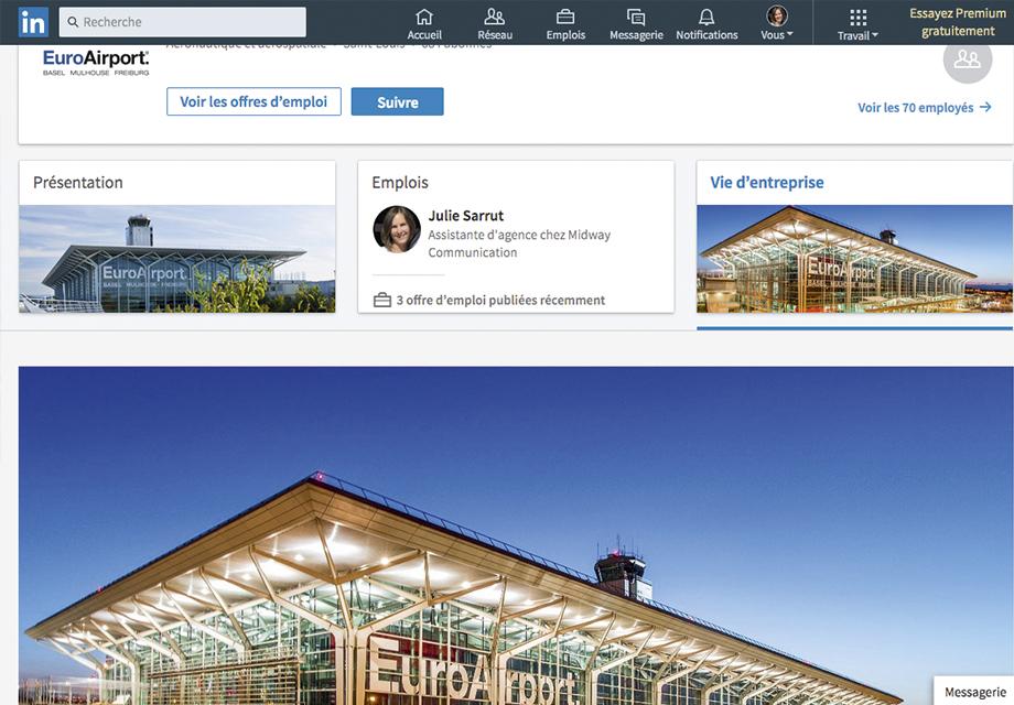 Page Entreprise EuroAirport sur le réseaux social LinkedIn