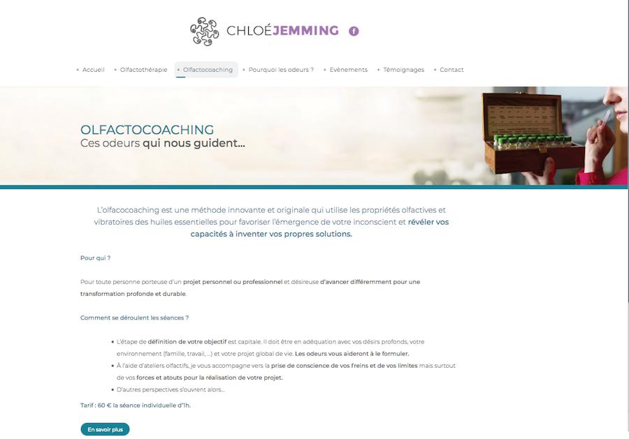 La page présentant l'olfactocoaching du site internet créé par l'agence Midway Communication pour Chloé Jemming à Strasbourg