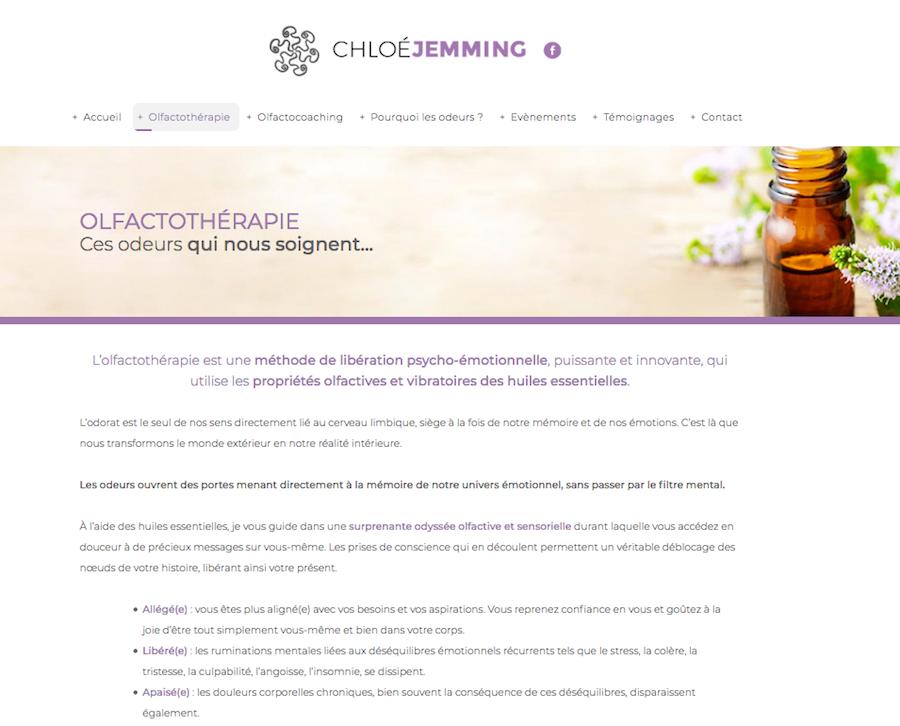La page présentant l'ofactothérapie du site internet créé par l'agence Midway Communication pour Chloé Jemming à Strasbourg