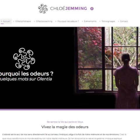 La page d'accueil du site internet créé par l'agence Midway Communication pour Chloé Jemming à Strasbourg