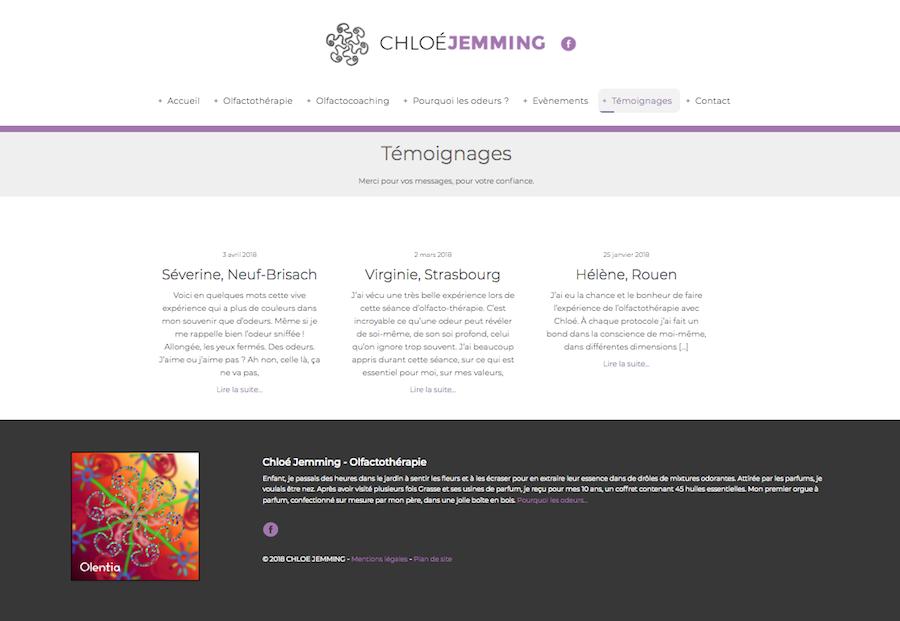 La page des témoignages du site internet créé par l'agence Midway Communication pour Chloé Jemming à Strasbourg