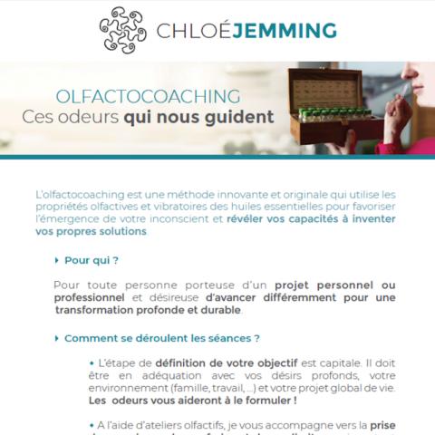 Flyer de Chloé Jemming créé par Midway Communication à Strasbourg : présentation de l'olfactocoaching.