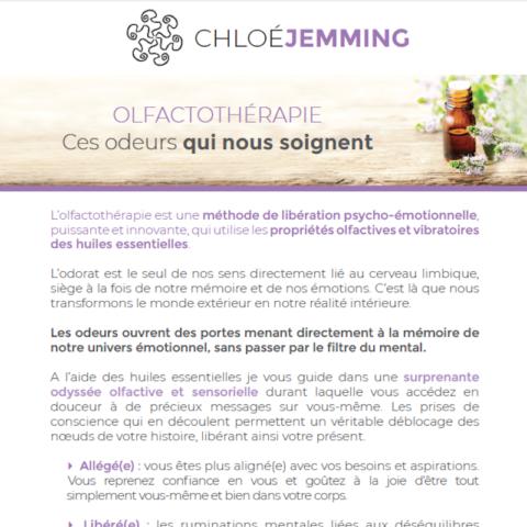 Flyer de Chloé Jemming créé par Midway Communication à Strasbourg : présentation de l'olfactothérapie.