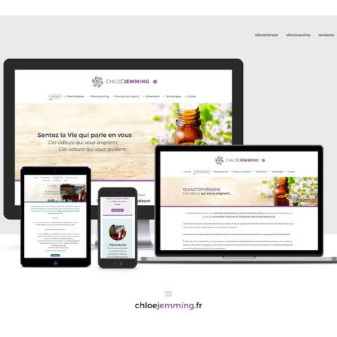 Présentation du site internet responsive créé par Midway Communication pour Chloé Jemming. Sur PC, tablette, smartphone.