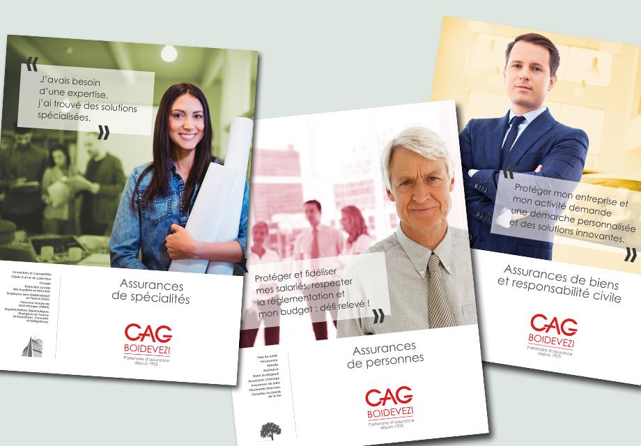 Affiches institutionnelles déclinées en fonction des différentes expertises du cabinet CAG Boidevezi