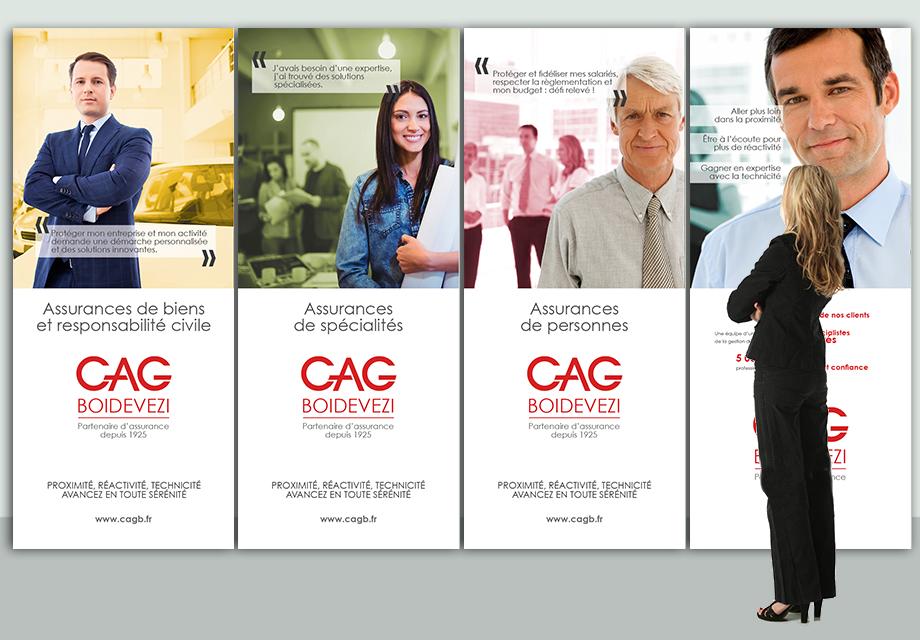 Mise en situation des kakémonos pour la communication corporate de CAG BOIDEVEZI