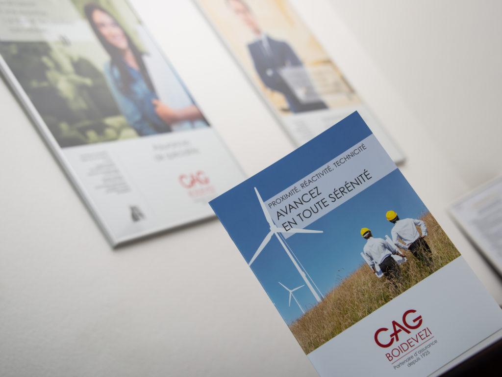 Plaquette institutionnelle réalisée pour notre client CAG BOIDEVEZI