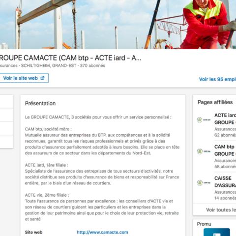 Capture d'écran de la page présentation de l'entreprise Camacte sur LinkedIn