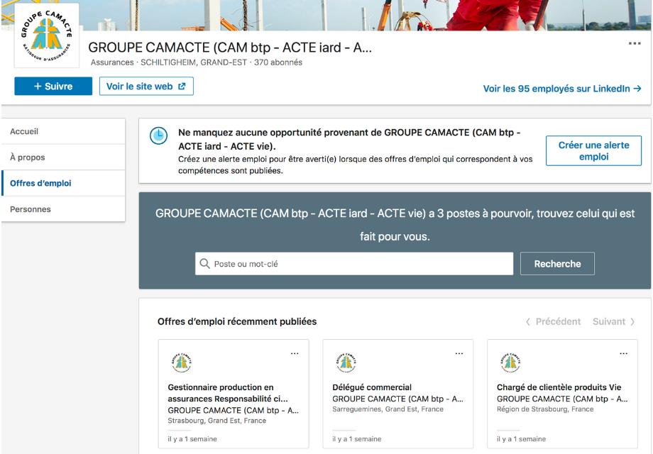 Capture d'écran des offres d'emploi sur la page Entreprise LinkedIn de Camacte